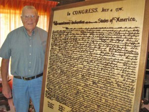 Navy Veteran Carves the Declaration of Independence