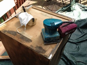 Sanding all surfaces.