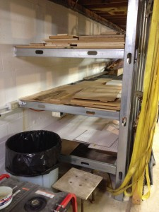 The plywood end of the storage area allows for full sheets down to small scraps, as well as room for expansion by simply adding cross members for additional layers