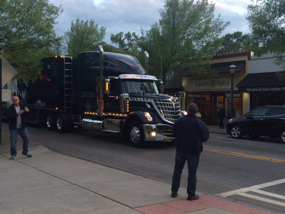 The Festool Truck arrived at Highland Woodworking at 8pm the night before the Roadshow